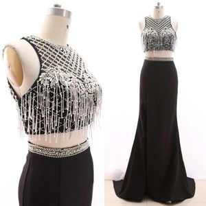 Dresses & Skirts - Two Piece Black Pageant Gown Formal Prom Dresses